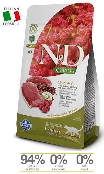 N&D Cat Ad. Urinary, Duck-Quinoa-Cranb. (ankkaa) viljaton kissan täysravinto