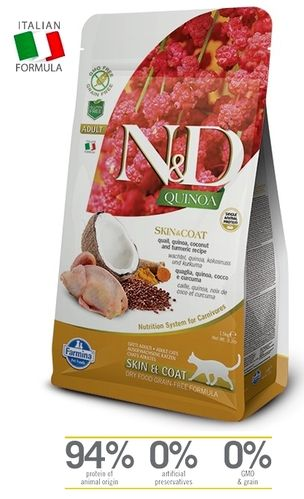 N&D Cat Skin & Coat Adult Quail-Quinoa cat food